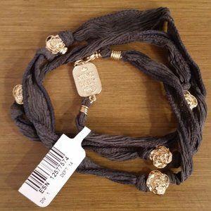 King Baby Jewelry Silk Wrap Goldtone Rose Bracelet